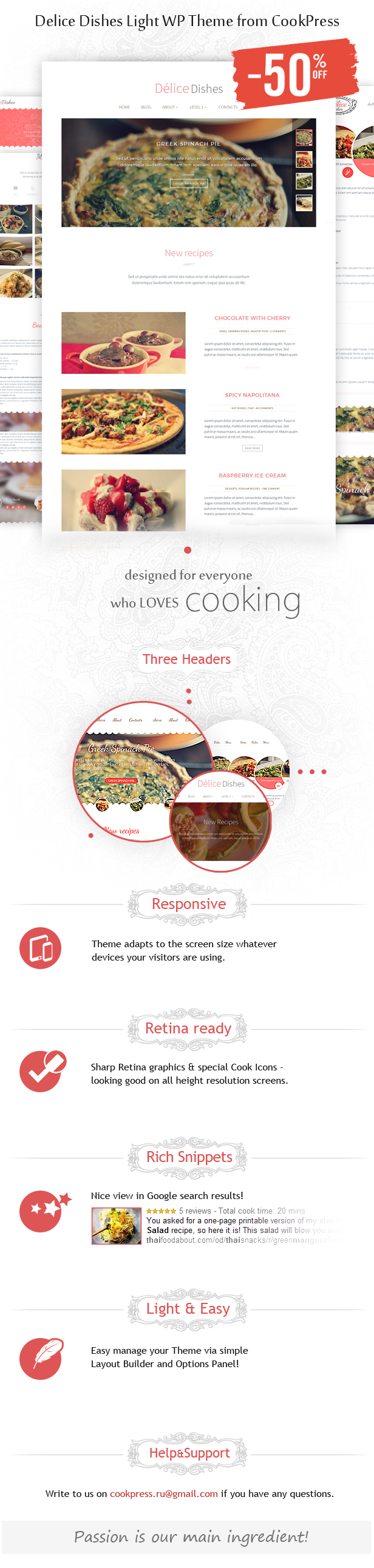 Delice Dishes Light WP Cook Theme • by CookPress - 1