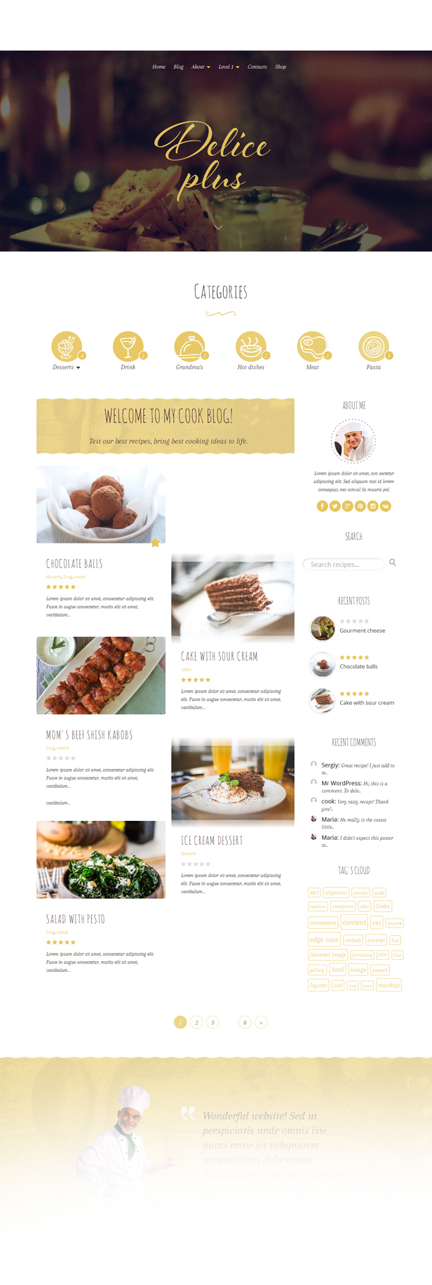 Delice Plus Cooking or Crafting WP Theme • by CookPress - 3